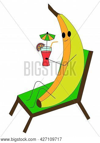 The Character, A Cheerful Boar Lies On A Sun Lounger With A Cocktail In His Hands. Vector Stock Illu