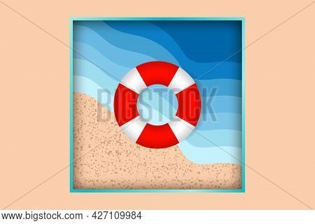 Lifebuoy In Sea Waves. Top View. Color Lifebuoy And Blue Ocean Background