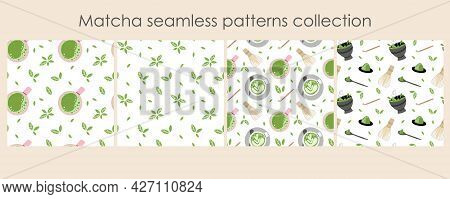 Matcha Seamless Pattern Set. Hand Drawn Traditional Japanese Drink, Cup With Latte, Chinese Green Te