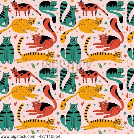Cartoon Cats Seamless Pattern. Hand Drawn Funny Pets In Different Poses, Green Yellow And Red Playfu
