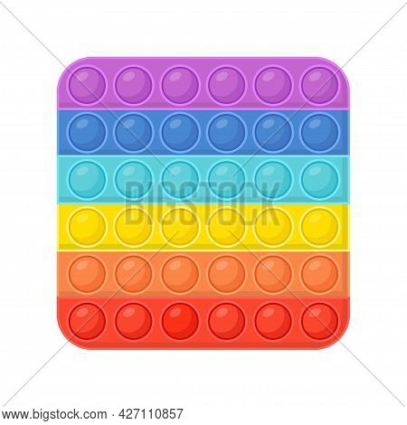 Pop It - Antistress Toy. Hand Toy Of Square Shapes In Rainbow Color With Rubber Push Bubbles. Pop It