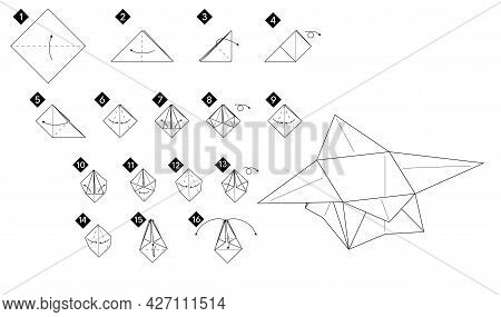 Step By Step How To Make Origami Box . Vector Monochrome Instructions Illustration. Black And White