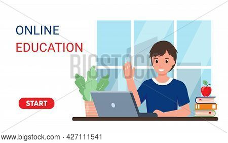 Smiling Male Pupil Studying Online At Home. Young Boy With Laptop In Room. Online Education Or Back