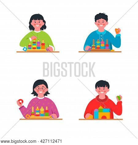 Montessori School. Boys And Girls Playing With Educational Toys, Set. Child Playing Designer Cubes,