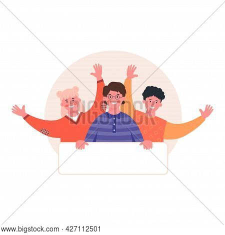 Vector Illustration Of Young People Are Holding A Blank Banner Or Poster With Space For Your Text. I