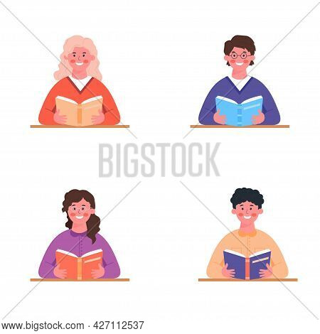 Young People Reading Books. Idea Of Book Lovers, Readers, Book Club Members. Set Of Vector Illustrat