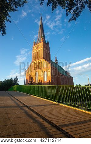 Szczecin. Cathedral Of St. James At Sunset.
