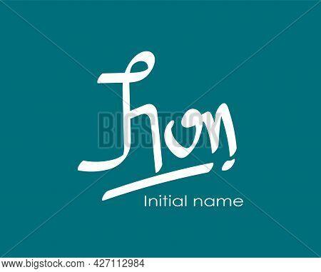Initial Handwritten John Name Initial Design, Handwritten Logo For Identity Elegant Logo Design, Ini