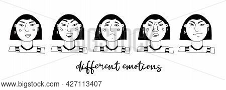 Vector Set Of Female Portraits. Cartoon Funny Minimalistic Character With Different Emotions And Moo