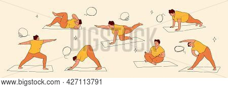 Plus Size Woman Exercising On Yoga Mat. Plump Lady In Different Yoga Poses. Vector Illustration Isol