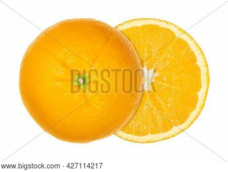 Orange Cut In Half, Both Halves Laterally Offset, From Above, Isolated Over White. Ripe Valencia Ora