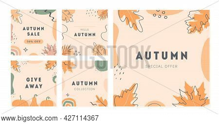 Set Of Vector Minimal Cards With Abstract Shapes, Pumpkin And Autumnal Leaves. Autumn Sale Trendy Po