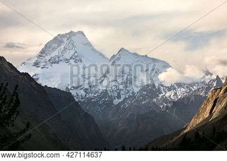 Top Of Masherbrum Mountain From Hushe Valley . Pakistan