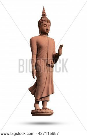 Buddha Statue Standing Isolated On White Background. Buddhism Religion Concept.