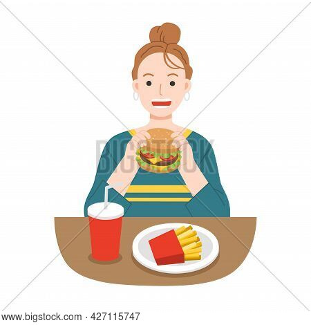Young Women Eating Hamburger With French Fries, And Soda. Fast Food For Life. Unhealthy Foods Concep
