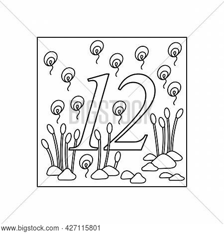 Coloring Book For Children, Numbers. Twelve. Education And Entertainment. Underwater World. Color It