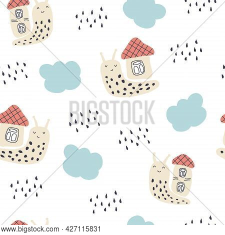Multi-color Seamless Pattern Of Snails And Rainy Clouds. Design For T-shirt, Textile And Prints. Han