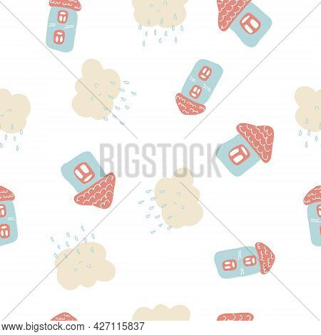 Tender Summer Seamless Pattern Of Houses And Rainy Clouds. Design For T-shirt, Textile And Prints. H