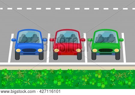Car Parking Zone. Parking Lot With Three Cars Front View. Place For Vehicles With Marking On Road. F