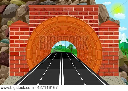Tunnel With Highway And Mountains At The Exit Of Way. Speedway Tunnel Road. Mountain Landscape With