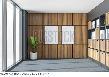 Two Empty Banners For Office Design On The Wall Covered With Wood Alike Tiling And Plant In The Smal