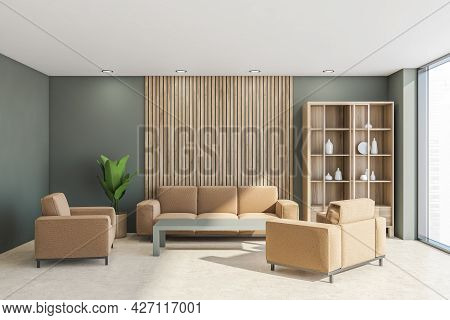 Interior With Beige Sofa, Two Chairs, Coffee Table, Cupboard, Panoramic View, Four Lights, Wooden De