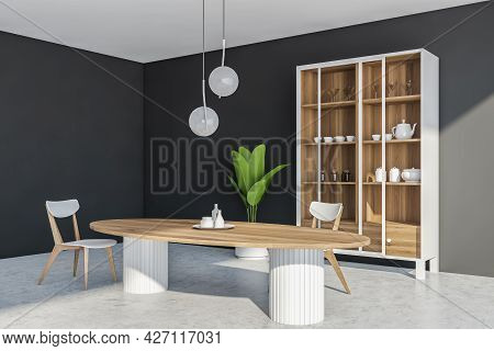 Corner View Of The Interior With Table, Two Chairs, Cupboard With Crockery And Sliding Glass Doors,