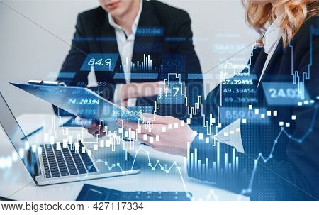 Two Businesspeople Traders Working Together To Develop New Trading Strategy. Stock Market Changes, B