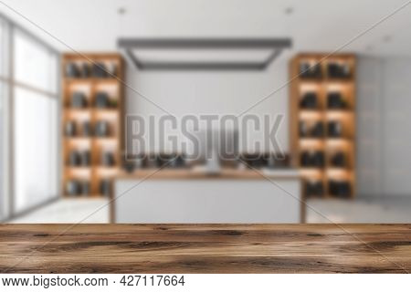 Advertisement Place For Design And Artworks, Tied With Blurred Light Grey Office Interior With Place