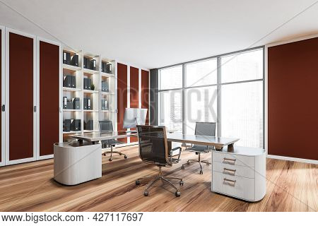 Interior With Framed Mild Red Details Of Luxury Workplace, Having Panoramic View, Cabinet With Glass