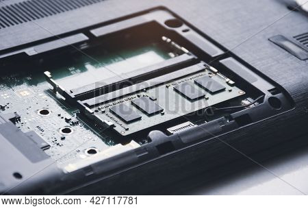Ram (random-access Memory) In Memory Slot On The Motherboard Of Computer Laptop