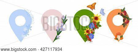 Pointer Vector Stock Illustration. Seasons Seasonal Signs: Autumn, Winter, Spring, Summer. Isolated