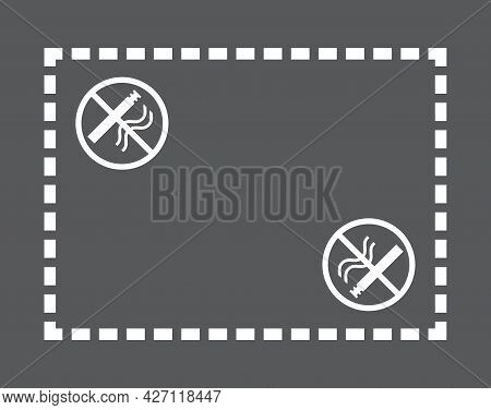 White No Smoking Zone Symbol On The Pavement