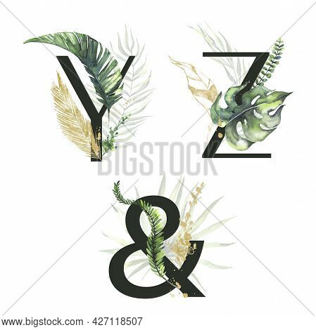 Tropical Green And Gold Floral Alphabet Collection - Letters Y, Z, Ampersand. With Green And Gold Tr