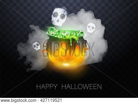 Realistic Vector Halloween Black Witchs Cauldron With Green Brew With Eyes. Happy Face Halloween Pum