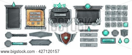 Stone Ui Game Frame, Ancient Rock Button, Gray Boulder Sign Board Panel, Menu Concept, Victory Badge