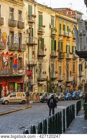 Naples, Italy - January 21, 2017: Street Scene In The Historical District Of The Naples, The Regiona