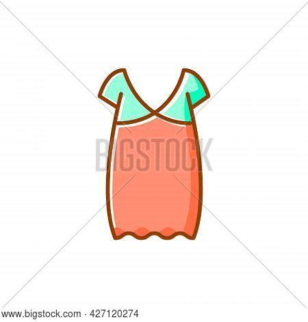Oversized Home Dress Flat Icon. Woman Gown. Homewear And Sleepwear. Color Filled Symbol. Isolated Ve