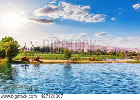 Nile Cruise Scenery, View On The River And The Valley Of The Kings, Luxor, Egypt.