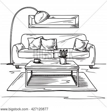 Living Room Sketch In Black On White. Interior Sketch, Sofa, Lamp And Other Furniture. Vector Illust