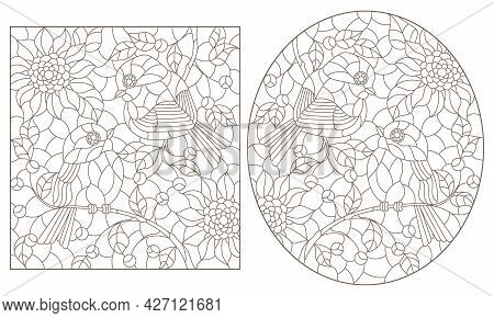A Set Of Contour Illustrations In The Style Of Stained Glass With Cute Birds On Branches And Flowers