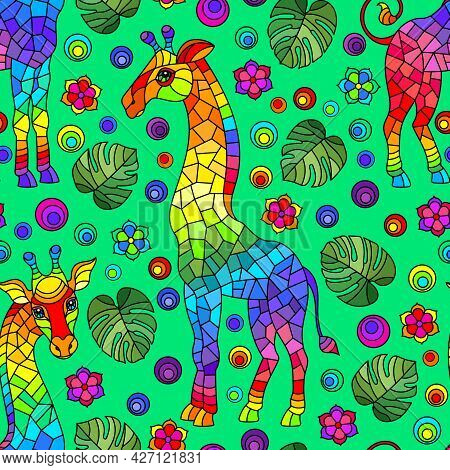 Seamless Pattern With Giraffs, Bright Rainbow Animals, Flowers And Leaves On A Green Background