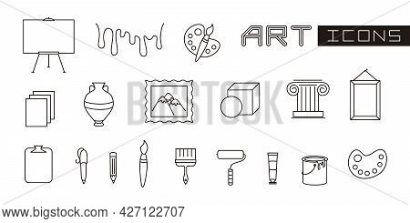 A Set Of Linear Elements For Art. Brushes, Paints, Easel And Everything For Painting. Vector Illustr