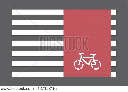 Zebra Crossing For Pedestrians And Red Bicycle Lane, Crossroad Safely Concept
