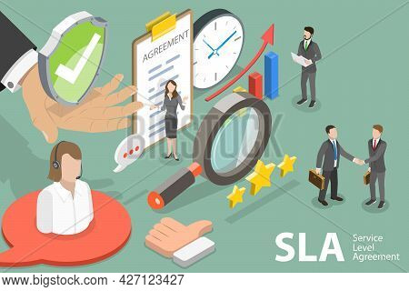 3d Isometric Flat Vector Conceptual Illustration Of Sla - Service Level Agreement, Signing Document