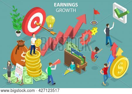 3d Isometric Flat Vector Conceptual Illustration Of Earnings Growth, Investment Management