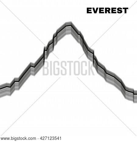 Silhouette Mount Everest. Mountain Landscape. Vector Illustration