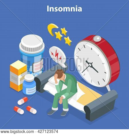 3d Isometric Flat Vector Conceptual Illustration Of Insomnia, Stress, Depression And Sleeping Proble