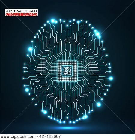 Abstract Neon Technological Brain, Artificial Intelligence With Cpu, Circuit Board. Vector Illustrat