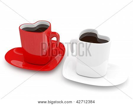Two Coffee Cup In Form Of Heart. Love Concept. 3D Render